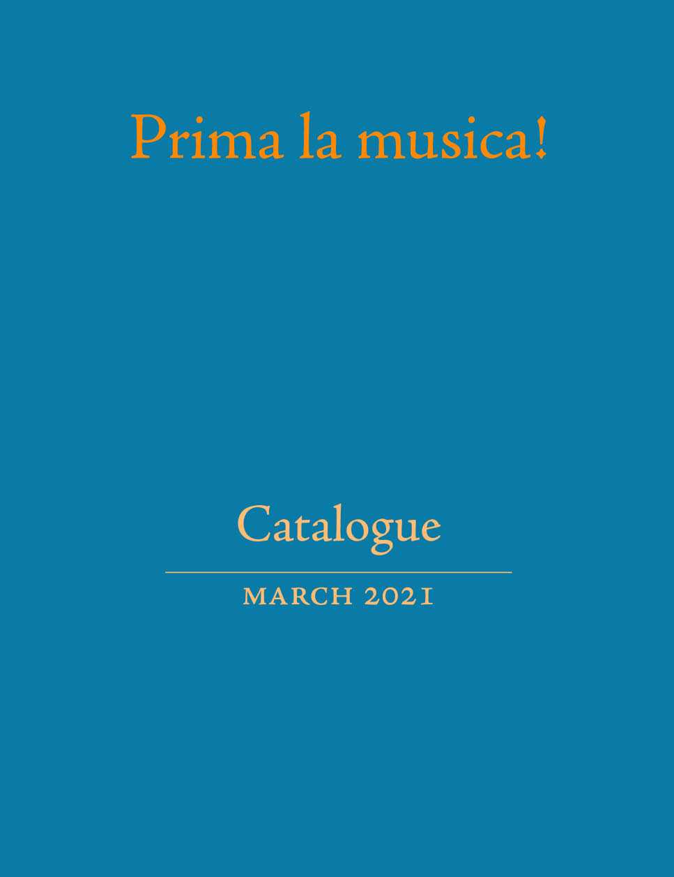 Prima la musica! catalogue for March 2021